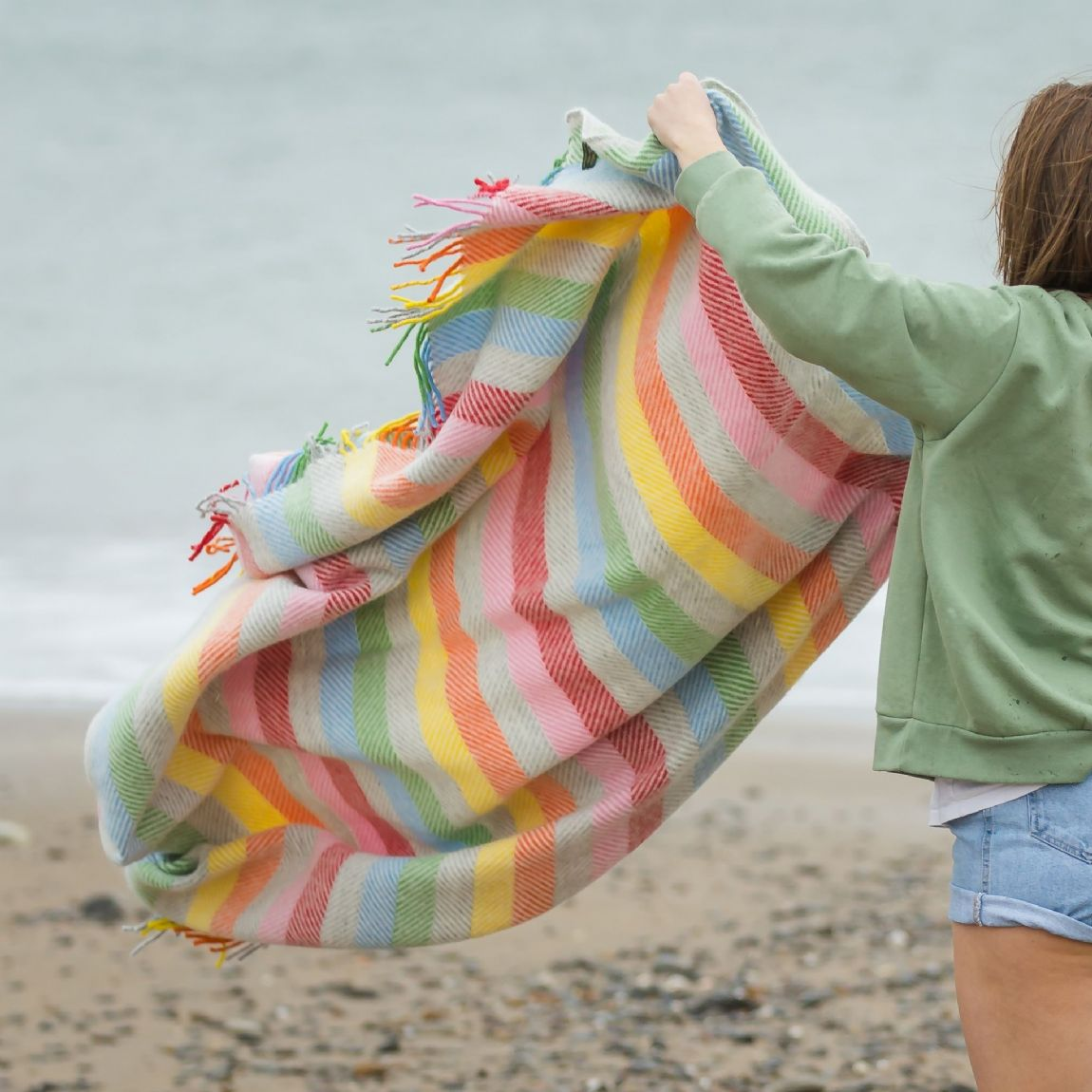 Multi Colour Rainbow Wool Blanket / Throw - Stripe Grey